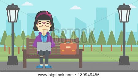 An asian young business woman with briefcase working in the park. Woman working on a laptop. Business woman sitting on a bench with laptop. Vector flat design illustration. Horizontal layout