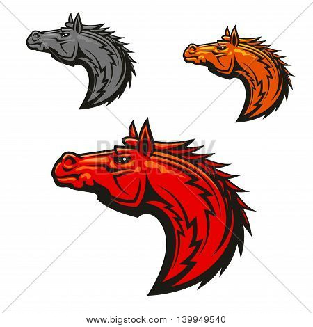Horse stallion head emblems set. Red, yellow, gray horses graphic mascot. Vector icons for chess or sport club emblem, team shield, icon, badge, label and tattoo.