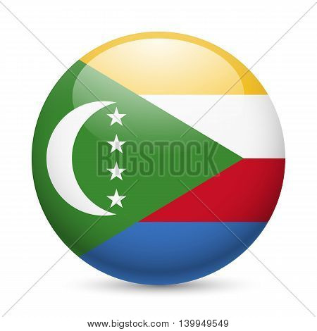 A round badge in the colours of The Comoros islands flag.