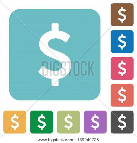 Flat dollar sign icons on rounded square color backgrounds.