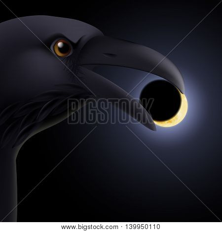 Black crow holding in its beak a darkened moon