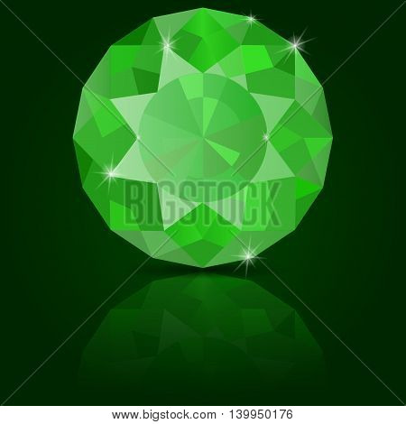 Emerald vector. On green background with reflection