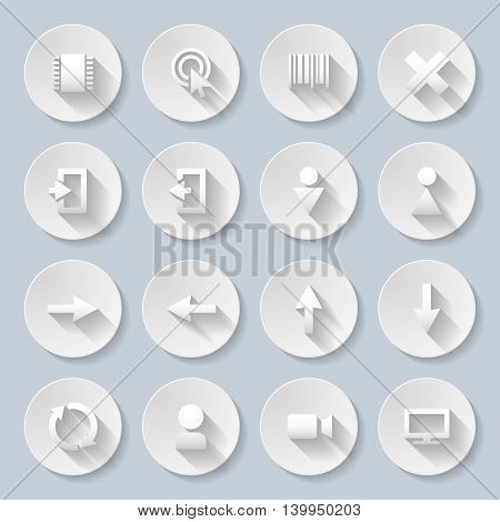 Set of interface icons in paper style