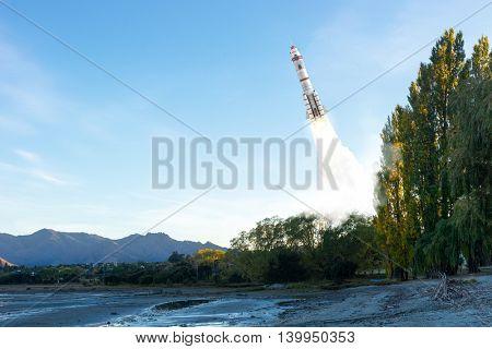 Rocket Space Ship . Mixed media