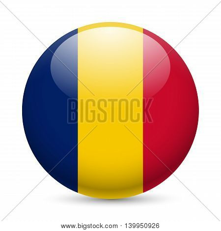 Flag of Chad as round glossy icon. Button with Chadian flag