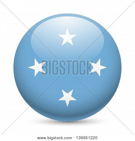 Flag of Federated States of Micronesia as round glossy icon. Button with flag design