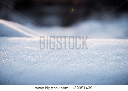White snow lies like a blanket for texture or background