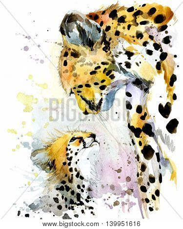 Cheetah watercolor. Cheetah and cub. Cheetah family watercolor illustration. Motherhood watercolor background