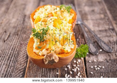 pumpkin stuffed with rice and vegetable