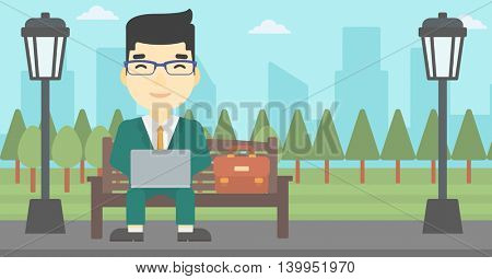 An asian young businessman working in the park. Man working on a laptop. Businessman sitting on a bench with laptop. Vector flat design illustration. Horizontal layout