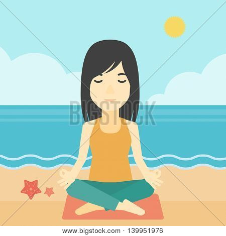 An asian young woman meditating in yoga lotus pose outdoor. Woman relaxing in the yoga lotus position. Woman doing yoga on nature. Vector flat design illustration. Square layout.