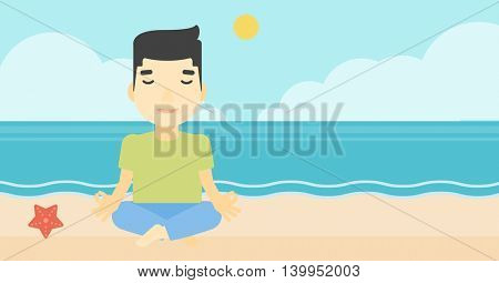 An asian young man meditating in yoga lotus pose on the beach. Man relaxing on the beach in the yoga lotus position. Vector flat design illustration. Horizontal layout
