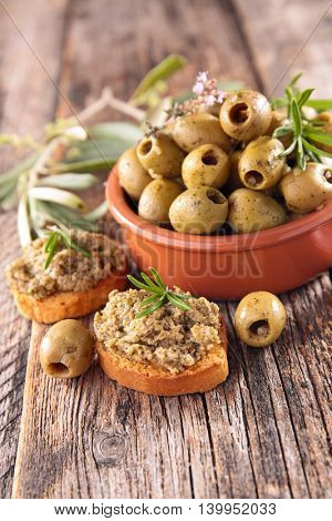 green olive and tapenade