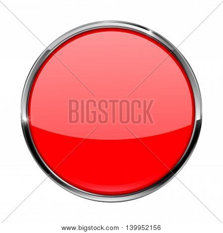 Red button. Shiny glass button with metal frame. Vector illustration isolated on white background.