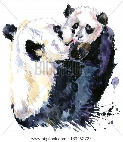 Panda watercolor. Panda bear and baby bear. Panda Bear watercolor illustration. Motherhood watercolor background