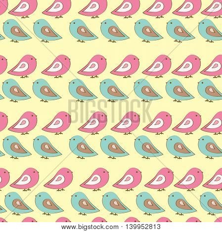 Seamless pattern with birds . Vector background.