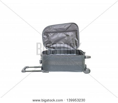 Closeup open black luggage isolated on white background fabric luggage with plastic roller for travel with clipping path
