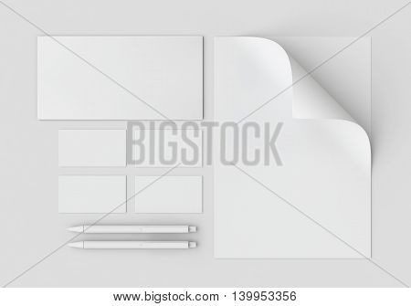 White stationery mock-up template for branding identity on gray background. For graphic designers presentations and portfolios. 3D rendering.