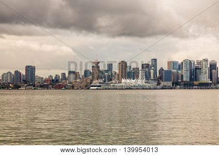Skyline of Victoria British Columbia from across the harbor