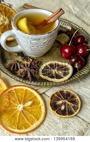 Dried Fruit, Cherries And A Cup Of Tea