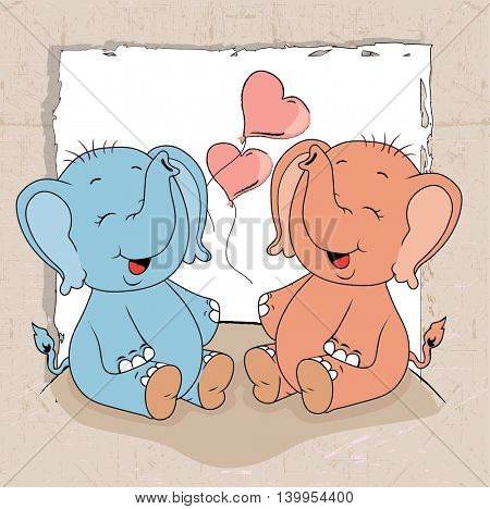 cartoon elephants with gift