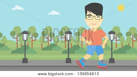 An asian young man on roller-skates in the park. Full length of sportsman in protective sportwear on rollers skating outdoors. Vector flat design illustration. Horizontal layout
