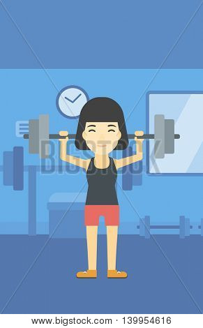 An asian young woman lifting a heavy weight barbell. Sports woman doing exercise with barbell in the gym. Female weightlifter holding a barbell. Vector flat design illustration. Vertical layout.