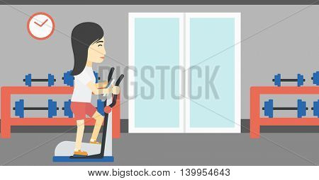 An asian young woman exercising on elliptical trainer. Woman working out using elliptical trainer at the gym. Woman using elliptical trainer. Vector flat design illustration. Horizontal layout
