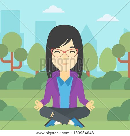 An asian young business woman meditating in yoga lotus position outdoor. Business woman relaxing in the park in the lotus position. Vector flat design illustration. Square layout.
