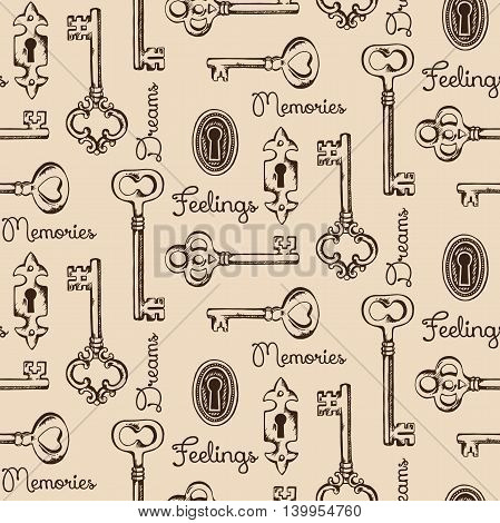 Seamless pattern of the old keys and keyholes. Diary cover design vector illustration
