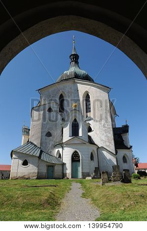 The Pilgrim Church of St. John of Nepomuk on Zelena Hora (Green Mountain) near Zdar nad Sazavou, Czech Republic, World Heritage Site by UNESCO