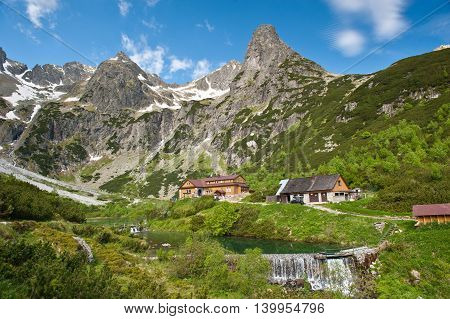 Mountain chalet. Chata pri Zelenom plese in High Tatra Mountains, Slovakia.Mountains in summer.