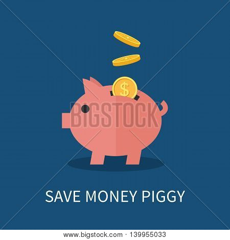 Flat Piggy bank and gold coins. Saving and investing money concept. Flat vector illustration for infographics and web design