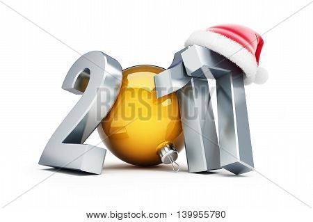 happy new year 2017 santa hat 3d Illustrations on a white background