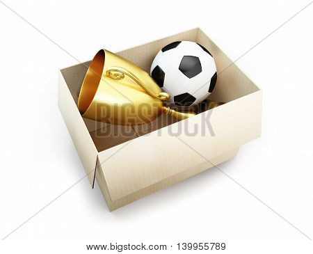 soccer ball in the box. 3d Illustrations on a white background