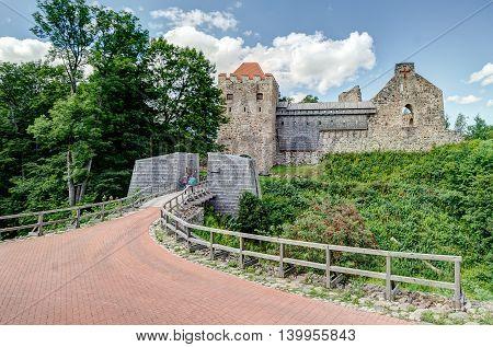 Sigulda Medieval Castle ruins. The Gauja valley in Latvia