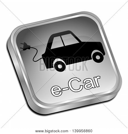 silver e-Car Button on white background - 3D illustration