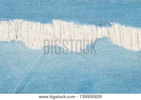 Closeup surface of old blue jean trousers fabric texture background