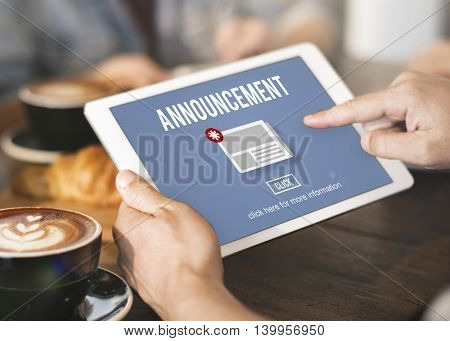 Announcement Hot News Newsletter Daily Concept