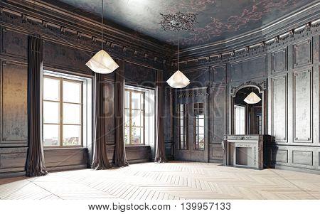 modern style black empty  living room apartment. 3d rendering