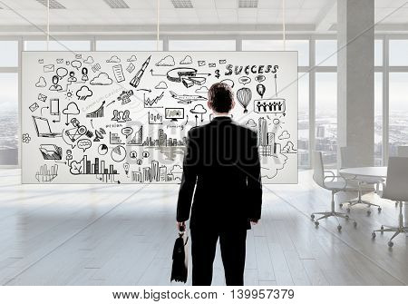 Businessman in office  . Mixed media