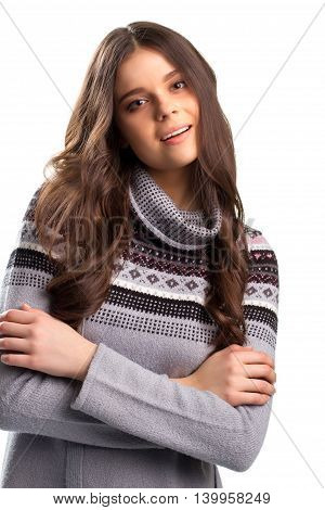 Calm face of young lady. Woman in printed sweater. Time to settle things. Speaking girl on white background.