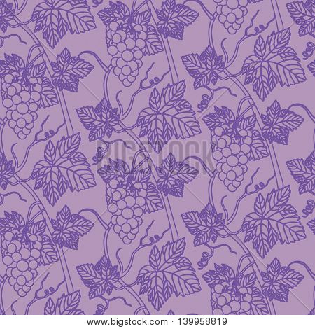 Linear grapes seamless pattern background