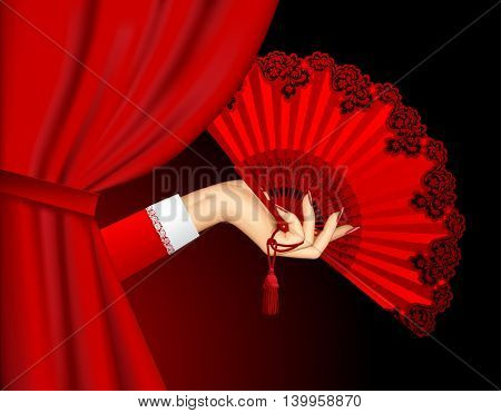 Female hand with open red fan emerging from behind the curtain on black background. Theatrical placard concept design.3D illustration. Contains the Clipping Path