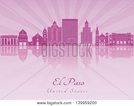 El Paso skyline in purple radiant orchid in editable vector file