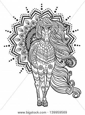 Ornament Horse vector. Beautiful illustration for design, print clothing, stickers, tattoos, Adult Coloring book. Hand drawn animal illustration. Bohemian lace