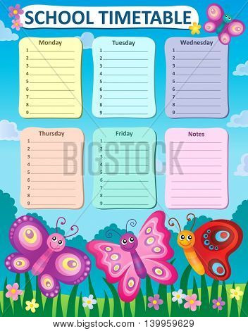 Weekly school timetable concept 4 - eps10 vector illustration.