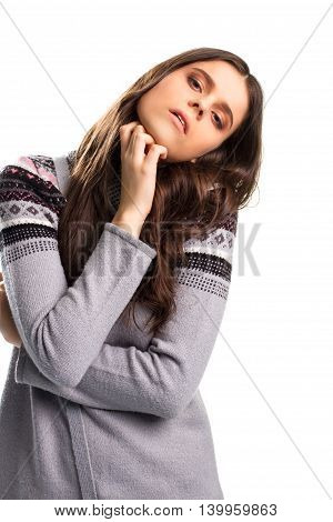 Girl leaning her head. Lady wears gray sweater. You're testing my patience. Need a moment to relax.