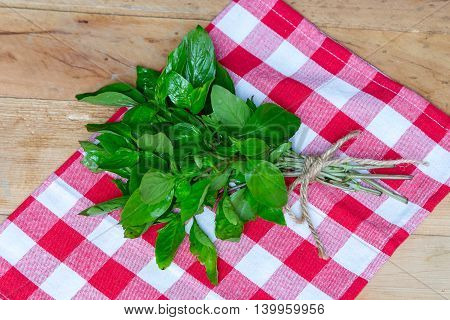 Fresh green basil on table  Fresh organic basil in cutting board on wooden background