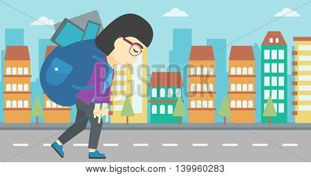 An asian young woman walking with backpack full of different devices. Woman walking with many electronic devices in the city street. Vector flat design illustration. Horizontal layout